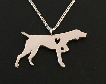 German Short Haired Pointer - dog pendant-  sterling silver