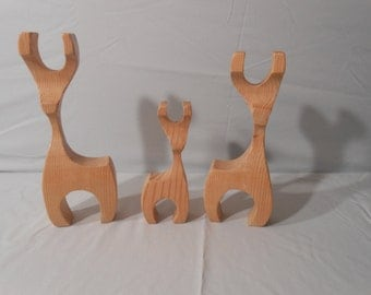 Wood Reindeer Family