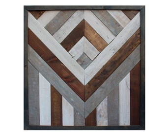 Rustic Chevron wall hanging- handmade, recycled, reclaimed wood