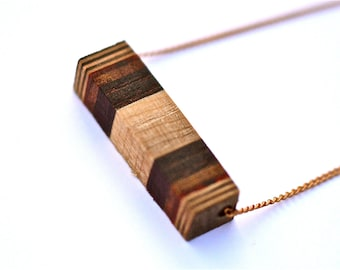 Layering Necklace Cube Necklace Minimalist Wood Necklace Tiny Cube Necklace Striped Wood Cube Necklace One Of A Kind Timber and Chain