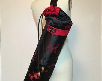Yoga Mat Bag - black floral