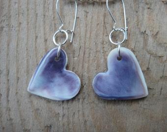 Beautiful purple and white wampum earrings, heart shape, wampum jewelry