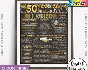 1967 Birthday Poster, 1967 50th Birthday Gift, Back in 1967 Birth, Flashback 50 Years Ago USA, 50th B-day Gift, Chalkboard Style Printable