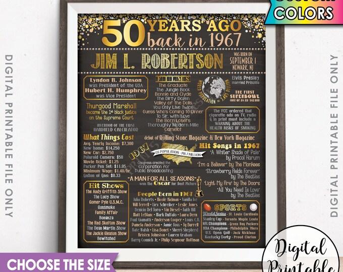 1967 Birthday Poster, 1967 50th Birthday Gift, Back in 1967 Birth, Flashback 50 Years Ago USA, 50th B-day Gift, Chalkboard Style Printable