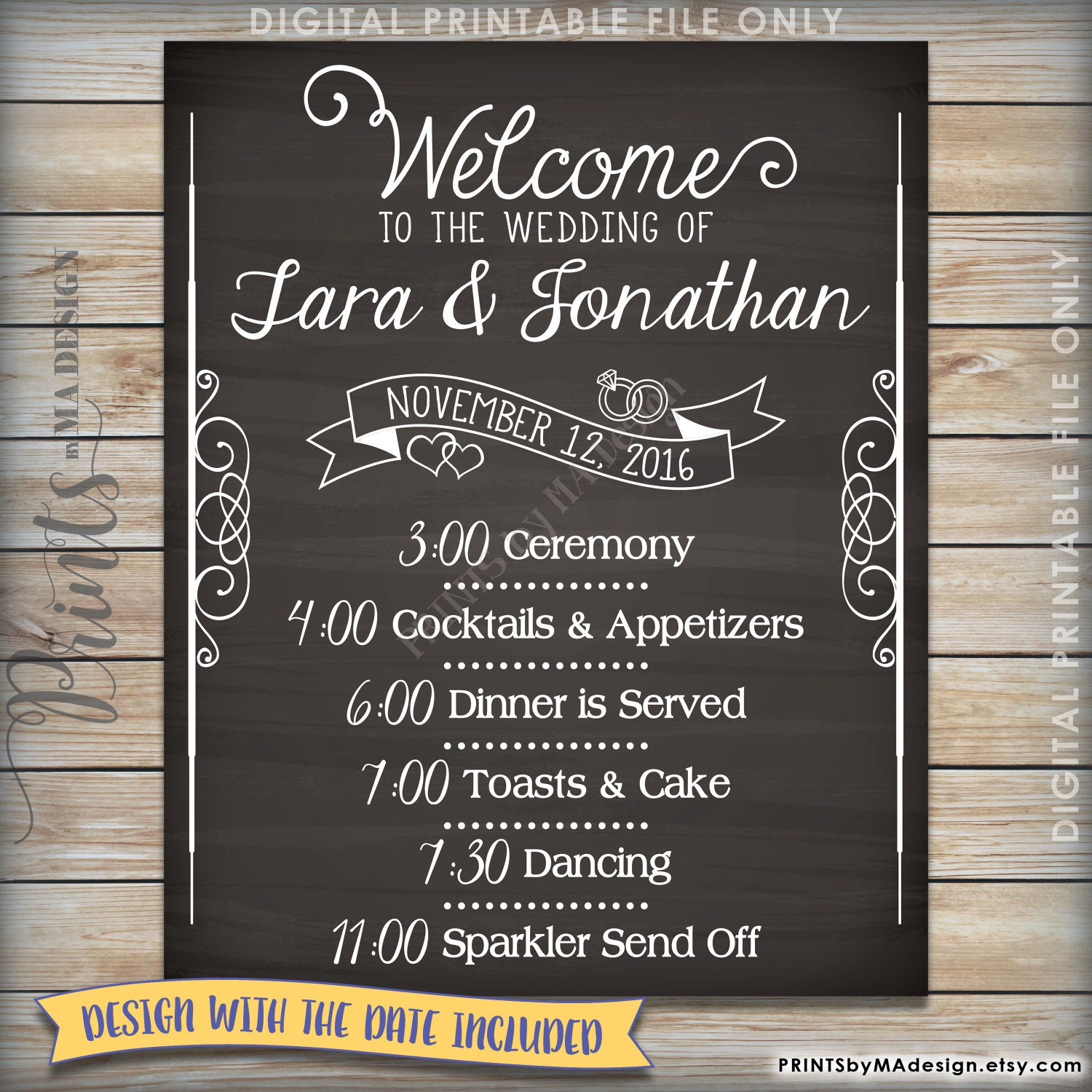 Wedding Schedule Sign Welcome To The Wedding Of Wedding