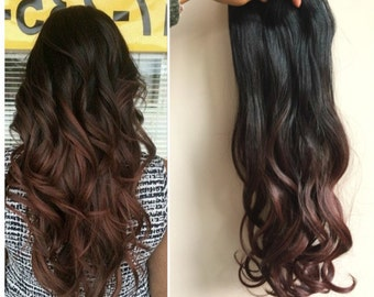 20 Inches Dip dye Ombre Curly Wavy Clip in Hair Extensions  (Col. natural black to dark auburn)
