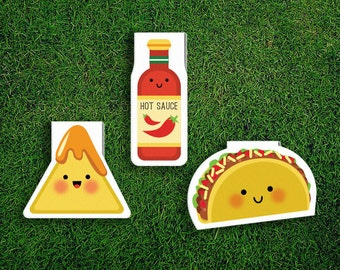 Magnetic Bookmark | Taco Nachos Hot Sauce Magnet Cute Book Bookmarks Pack of 3, Magnetic Cute Quirky Kawaii Mexican Food Cheese Corn Chips