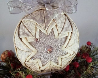 "Christmas Quilted Ornament - Quilted Handmade ""Silvery Delight"""