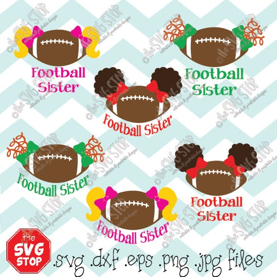 Football Sister Pigtails Design Svg And Studio Files For