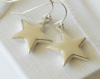 Silver Star Drop Earrings (ERO98 - box) ~ Wedding, Anniversary, Bridesmaid, Birthday Earrings