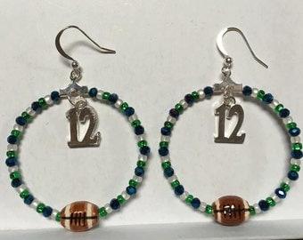 Seahawks Hoop Earrings