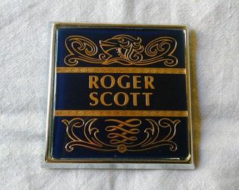 Renamel Roger Scott Car Badge Vintage Retro Collectible British Radio DJ Personalised Car Mascot Automobilia British Vintage Made in England