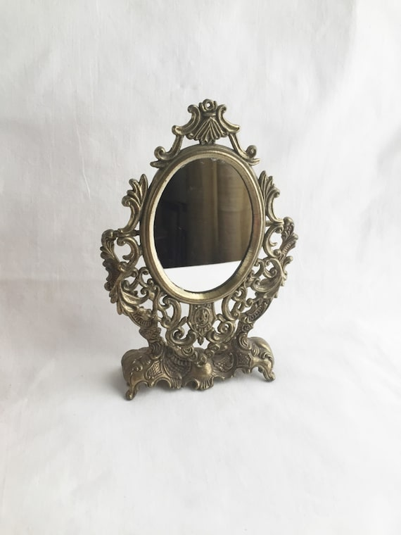 Vintage ornate gold mirror tabletop brass ornate small for Small gold mirror