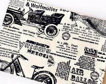 Vintage Newspaper Cotton Fabric Retro Balloon Canvas Cotton for Cloth Curtain Quiltting Upholstery 1/2 yard f105