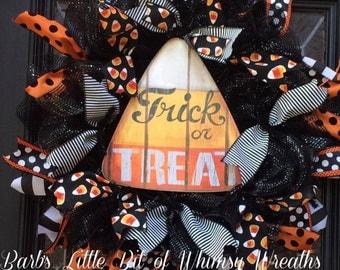 Halloween Wreath Sale, Halloween Wreath, Trick or Treat Wreath, Candy Corn Wreath, Halloween, Candy Corn SignHalloween Decor'