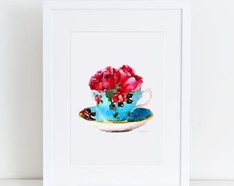 Teacup watercolor with peony, Tea cup, Kitchen decor, Printed 8X10, watercolour, shabby chic, french country, home kitchen art vintage decor