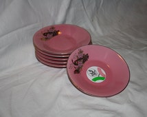 Pink Porcelain Plate, Japan Porcelain Plate, Yamato Porcelain, Pink Yamato Porcelain, Pink Plate With Gold Peacock