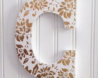 Gold Letter with Foil Flowers,Wall Letter,Wood Letter,Letter Art,Hanging Letter,Decorated Letter,Baby Letter,Nurser Decor,Wedding Gift