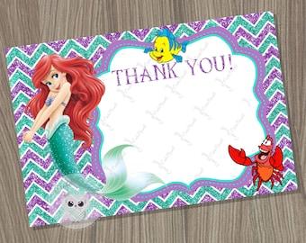 Little Mermaid Thank You Card Blank, Disney Little Mermaid, Ariel Thank You Card, Little Mermaid Birthday, Mermaid Thank You Card