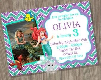 Little Mermaid Invitation, Ariel Invitation, Disney Little Mermaid, Little Mermaid Birthday, Mermaid Invitation, Princess Invitation