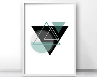 Instant Download Printable Art, Modern Wall Art Print, Digital Download Art, Abstract Geometric Art Print, Black Teal Art, Digital Print Art