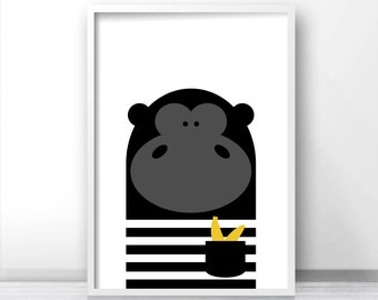Digital Download Nursery Print, Animal Nursery Wall Art, Gorilla Kids Print, Instant Download Printable Art, Kids Art, Modern Nursery Decor