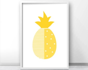 Pineapple Nursery Print, Modern Nursery Art Printable, Fruit Print, Pineapple Wall Art Print, Yellow Nursery Decor, Modern Kids Art Print