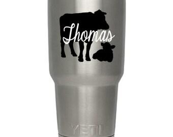 Yeti RTIC Tumbler Cup Vinyl Decal Sticker Label Personalized Name Cow Calf Country Farm Life FFA Farming Laptop School Auto Custom