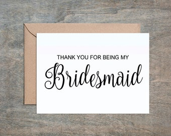 bridesmaid card, thank you bridesmaid, thank you for being my bridesmaid, thanks bridesmaid
