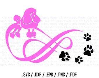 Poodle Dog, Love Infinity Puppy Clipart, Veterinary Office Wall Art, Animal SVG File, Vinyl Cutter, Screen Printing Die Cut Machine - CA248