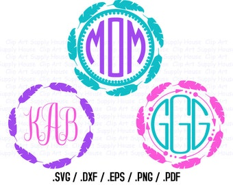 Tribal Feather Circle Monogram Frame Design Files, Use With Silhouette Software, DXF Files, SVG Font, EPS File, Svg Font, Silhouette - CA307