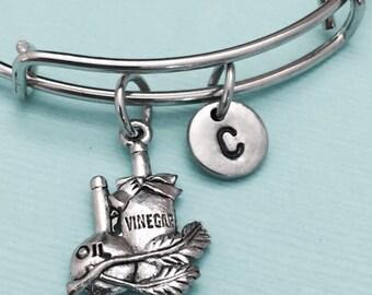Vinegar and oil bangle, vinegar and oil charm bracelet, expandable bangle, charm bangle, personalized bracelet, initial bracelet, monogram