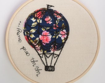 Vintage Hot Air Balloon Hoop Art | Nursery Decor | New Baby Gift | Vintage Free Motion Embroidery