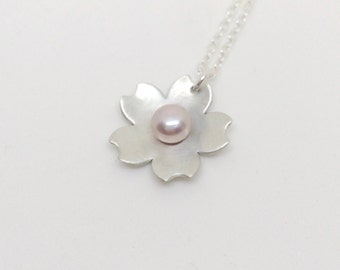 Sterling Silver Cherry Blossom Necklace with Pink Freshwater Pearl | Bridesmaids Gift Idea | Bridal Jewellery