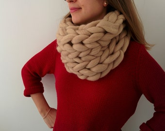 Giant knit infinity scarf - 100% merino wool