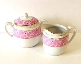 Porcelain Sugar and Creamer Set