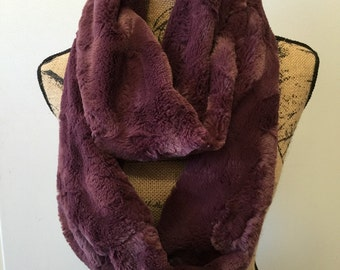 Faux Fur Scarf - Plum Fur Infinity Scarf - Faux Fur Infinity Scarf -Luxury Fashion Scarf