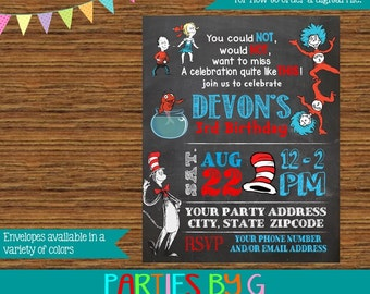 Dr. Seuss Cat in the Hat Thing 1 & Thing 2 Birthday Party Invitations Invites Personalized Custom