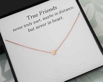 Rose Gold Heart Necklace, Best Friend gift, Heart Necklace, Gift for her, Gold Necklace, Message Card Jewelry