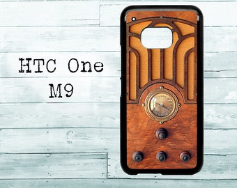 Vintage tombstone wooden radio phone cover - black HTC One M8/M9/M10 case - wood radio HTC One case, HTC phone cover