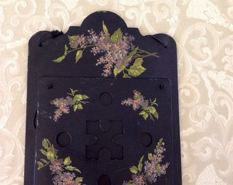 Victorian Wooden Magazine Rack with Handpainted Lilacs