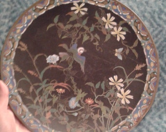 Qing Chinese cloisonne hand decorated collectable plate