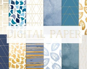 digital paper gold and blue,  for personal and small commercial use