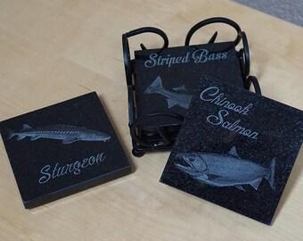 Fishing Coaster Set ~ Engraved Granite Coasters ~ River Fish Coasters ~ Striper, Sturgeon, Salmon, Walleye