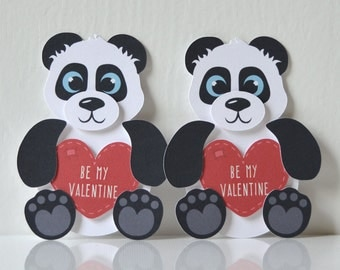 Mini Panda Valentine's Cards Set of 12: handmade black and white bear valentine, holding heart, be my valentine, cute fuzzy animal- LRD002V