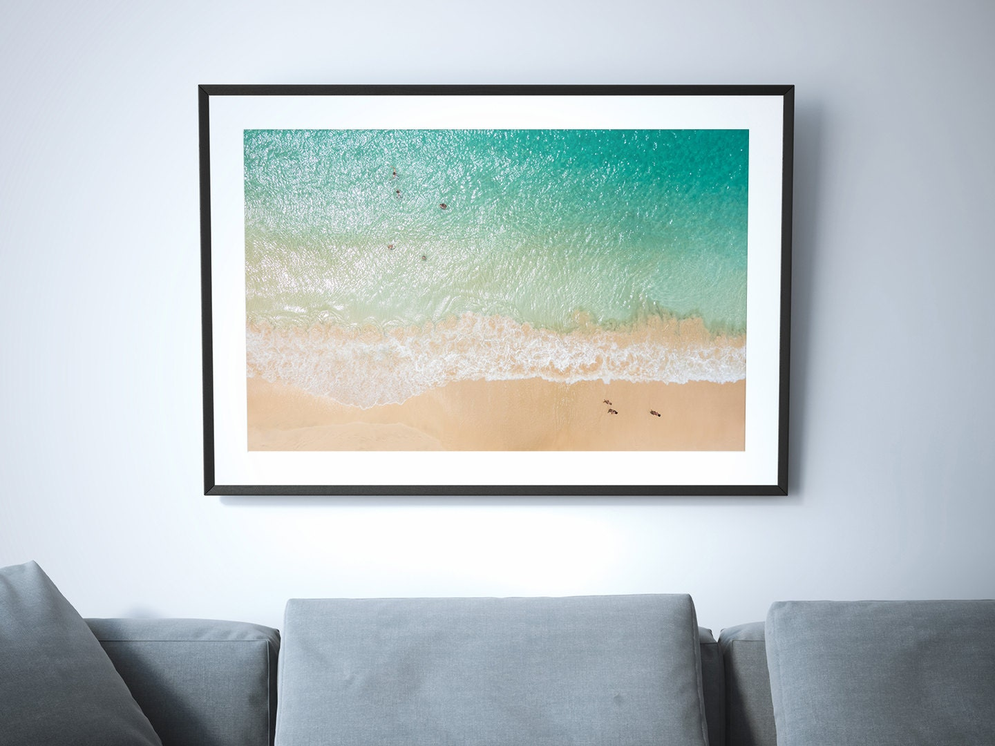 above large beach poster print aerial beach photography
