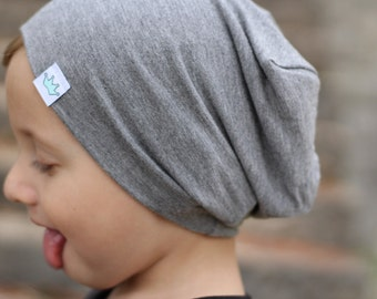 Toddler beanie / Slouchy baby beanie / Hipster toddler boy slouch beanie / Gray hipster beanie / Slouchy knit hat / Infant beanie
