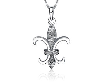 Fleur-de-Lis Necklace - Sterling Silver (M016)