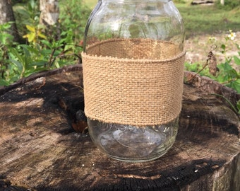 DIY Burlap Mason Jar Wrap
