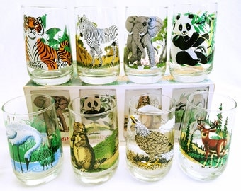 MINT Vintage Collection of 8 Endangered Species Glasses by Brockway Glass, c. 1960's